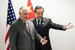 US Secretary of State Rex Tillerson (L) and China's Foreign Minister Wang Yi  at the gathering of Foreign Ministers of the G20.