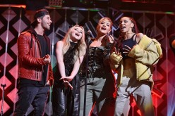 Jake Miller, Sabrina Carpenter, Rita Ora and Tinashe perform onstage during Z100's Jingle Ball 2016 at Madison Square Garden on December 9, 2016 in New York, New York.