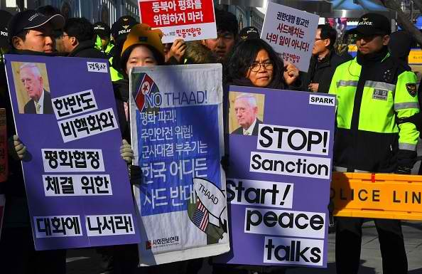 Protests in South Korea over the THAAD.