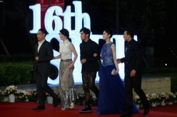 Wang Xueqi, Xu Fan, Jay Chou, Li Xinai and Will Liu arrive at the opening ceremony of the 16th Shanghai International Film Festival at Shanghai Culture Square on June 15, 2013 in Shanghai, China.