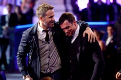 Ryan Reynolds and Ed Skrein accept the Best Fight award for 'Deadpool' onstage during the 2016 MTV Movie Awards at Warner Bros. Studios on April 9, 2016 in Burbank, California.