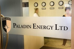 Paladin Energy Ltd. logo is displayed at the company's reception in Perth, Australia.