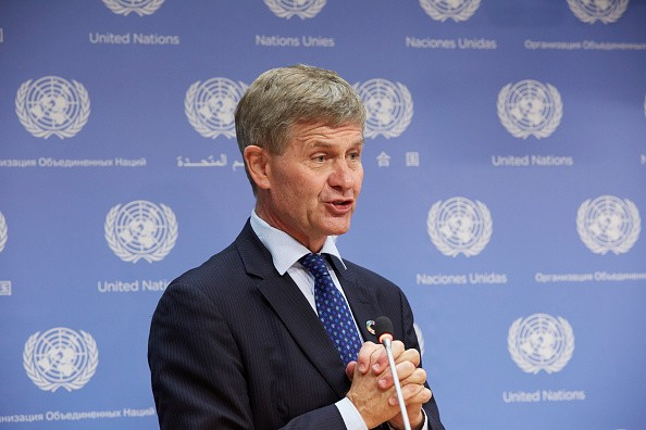 UN Under-Secretary-General Eric Solheim at press briefing on climate change.
