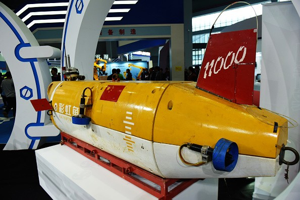 China's first 11,000-meter manned submersible Rainbow Fish is displayed at the 17th China International Industry Fair at National Exhibition and Convention Center.
