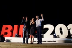 Cho Sung Kyu, Ye Ji Won and Kim Tae Woo attend Outdoor Greeting 'The Winter of the Year was Warm' during the 17th Busan International Film Festival (BIFF) at the Haeundae Beach on October 7, 2012.