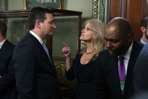 White House Counselor Kellyanne Conway talks to U.S. Sen. Ted Cruz before a swearing-in ceremony in the Vice President's ceremonial office at Eisenhower Executive Office Building March 2, 2017 in Washington, DC.