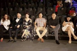 Liza Diño Seguerra, Lee Sang Woo, Lee Song Yi, Daniel Palacio, Brillante Mendoza, Millie Dizon and Wilson Tieng attend the Philippine premiere of 'Walking Street' at SM Aura Premier, Taguig, Metro Manila.