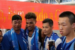 Junior Urso (center) is the hero for Guangzhou R&F's latest win in the Chinese Super League.