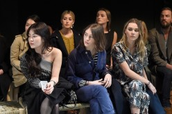 Song Hye Kyo, Iris Law and Immy Waterhouse wearing Burberry attend the Burberry February 2017 Show during London Fashion Week February 2017 at Makers House on February 20, 2017 in London, England.