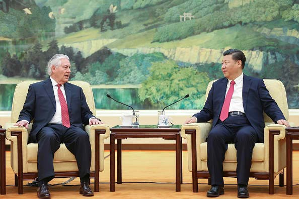 Secretary of State Rex Tillerson speaks with Chinese President Xi Jinping.