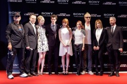 Avi Arad, Marc Webb, Emma Stone, Andrew Garfield, Park Bom, Sandara Park, Rhys Ifans, Gong Min-ji, and Matt Tolmach attend the 'The Amazing Spider-Man' Seoul premiere at Lotte Cinema on June 14, 2012 in Seoul, South Korea.