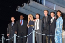 Peter Burg, Gregory D. Gadson, Brooklyn Decker, Taylor Kitsch, Alexander Skarsgard, Tadanobu Asano and Rihanna attend the 'Battleship' Japan Premiere at International Yoyogi first gymnasium on April 3, 2012 in Tokyo, Japan.