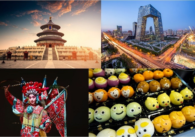 (Clockwise from the top): Temple of Heaven, China Central Television Headquarters, Chinese opera character and Chinese milk bread.