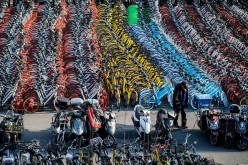 Picture shows impounded bicycles from the bike-sharing schemes Mobike and Ofo in Shanghai.