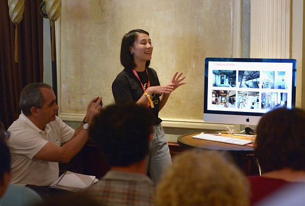 Airbnb China Social Marketing Specialist Haina Xiang speaks during Connecting with Hosts Around the World at Clifton's Cafeteria.