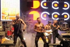 "(L-R): Sauti Sol--Bien-Aime Baraza, Savara Mudigi, Willis Chimano and (on guitar) Polycarp Otieno--perform in Kigali, Rwanda, on Sept. 17, 2016 as part of their ""Live and Die in Afrika Tour."""