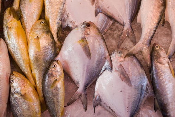 This photo shows fresh fish on sale in traditional old Chinese Soho food market on Graham Street, Central Hong Kong, China.