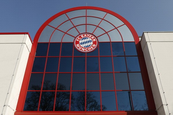 The emblem of Bayern Munich at its headquarters.