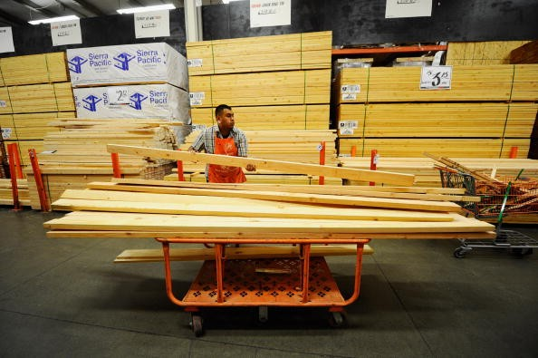 Stacks of lumber at a Home Depot store in Los Angeles.