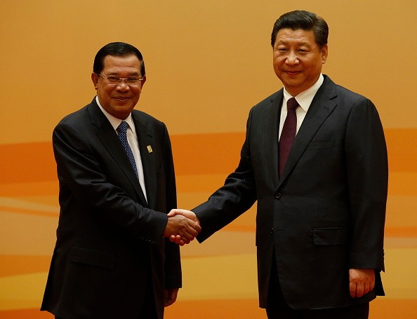 Cambodia's Prime Minister Hun Sen with China's President Xi Jinping