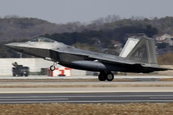 U.S. stealth fighters and F-22 jets fly over North Korea.