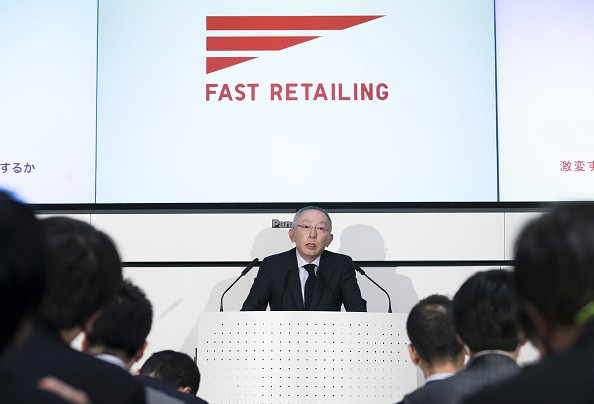 Fast Retailing Chairman and CEO Tadashi Yanai Attends an Earnings News Conference