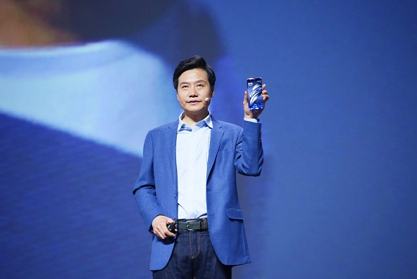 Xiaomi CEO Lei Jun makes a speech during the launch event of Mi 6 smartphone at Beijing University of Technology on April 19, 2017 in Beijing, China.