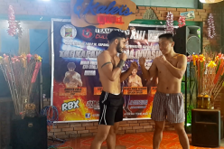 Andrea Cola and Leo Alejandro face off after their weigh-in before they fight in the 70 kg division as a main event at 'Team Lakay Championship XIII: The Kapangan MMA Invasion 2' on May 1, 2017.