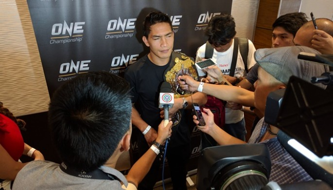 "ONE lightweight world champion Eduard ""Landslide"" Folayang answers questions from the media during the Team Lakay Media Day event on May 9, 2017 at Vikings Venue, SM Mall of Asia Bayside, Pasay City, Philippines."