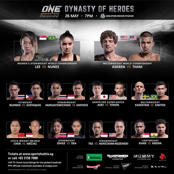 'ONE Championship: Dynasty of Heroes' takes place at the 12,000-seater Singapore Indoor Stadium in Kallang, Singapore on May 26, 2017.