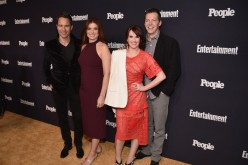 (L-R) Eric McCormack, Debra Messing, Megan Mullally and Sean Hayes of Will And Grace attend the Entertainment Weekly and PEOPLE Upfronts party presented by Netflix and Terra Chips at Second Floor on May 15, 2017.