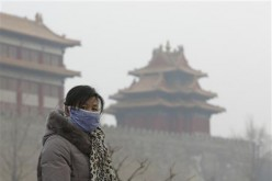 A Chinese woman wears a mask outside the Forbidden City due to heavy haze.