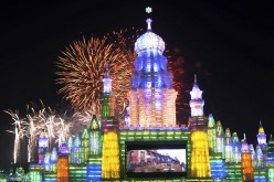 Fireworks display over ice sculptures in the northeastern Chinese city of Harbin's Ice and Snow Festival.