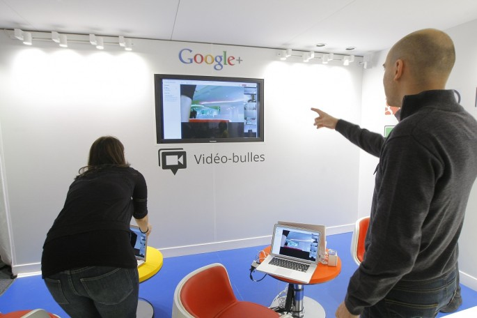 A video hangouts stand is pictured at the new headquarters of Google France