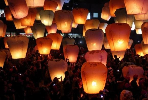 Sky lanterns for the traditional Chinese Lantern Festival.