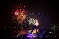 A fireworks show was held near the observation wheel in Hong Kong on Jan. 1, 2015.