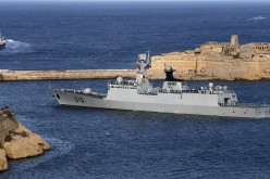 The Chinese Navy frigate Huangshan leaves Valletta's Grand Harbour, March 30, 2013.