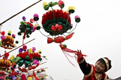 A Chinese boy during Spring Festival celebrations.