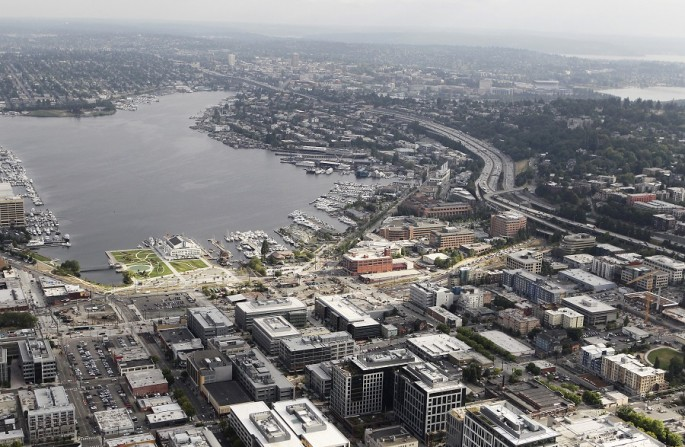 Aerial view in the South Lake Union neighborhood of Seattle, Washington, as seen from a helicopter, Aug. 21, 2012.