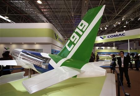 A model of the Comac C919 passenger plane