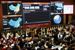 A giant electronic board showing the online transaction value on Alipay.