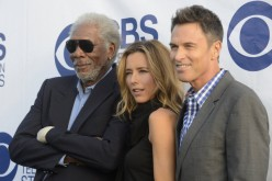 Téa Leoni with Morgan Freeman and and Tim Daly in 2011.