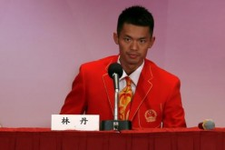China's badminton player Lin Dan at a news conference in 2012.