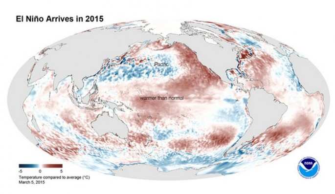 A data map illustrating the effects of El Niño for 2015.