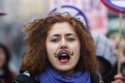 A woman shouts slogans during a demonstration to mark the International Women's Day in Istanbul, March 6, 2010.
