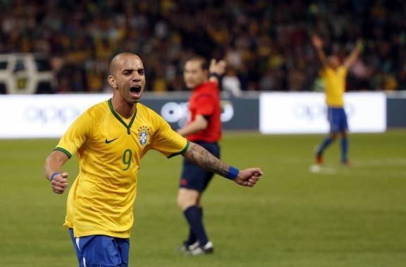 Brazil's Diego Tardelli in a friendly international match.
