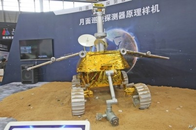 A prototype of Yutu, China's lunar rover, on display before its launching in 2013.