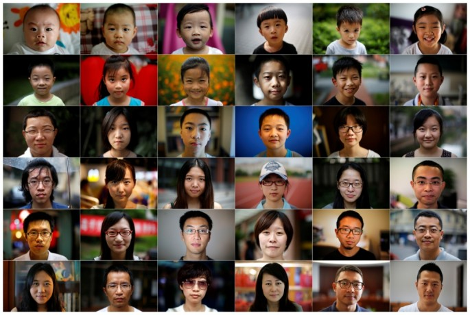 A composite image shows 36 people, one person born each year that China's one-child policy has been in place, made from a series of portraits shot in Shanghai.