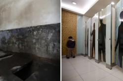 A combination photograph shows (L) a public toilet in a half-demolished old town and (R) a boy using a toilet inside a department store at a shopping district in Beijing.