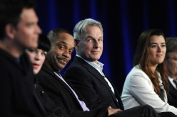 Cast members (L-R) Michael Weatherly, Pauley Perrette, Rocky Carroll, Mark Harmon, Cote de Pablo and David McCallum participate in a panel for CBS series NCIS during the CBS sessions at the Television Critics Association winter press tour in Pasadena, Cal